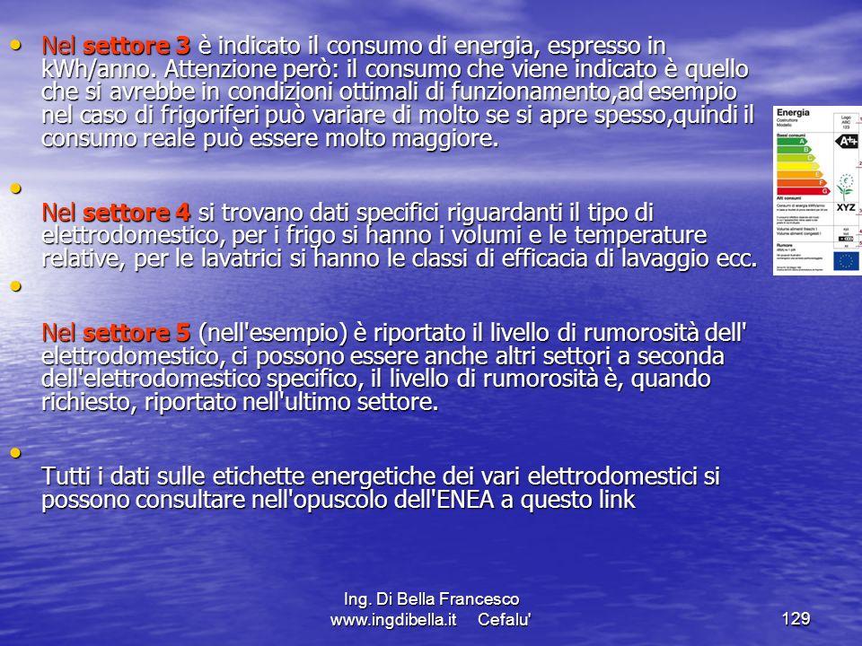 Ing. Di Bella Francesco www.ingdibella.it Cefalu'129 Nel settore 3 è indicato il consumo di energia, espresso in kWh/anno. Attenzione però: il consumo