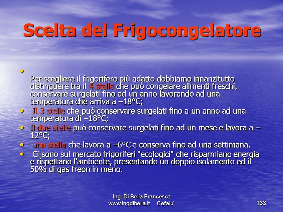 Ing. Di Bella Francesco www.ingdibella.it Cefalu'133 Scelta del Frigocongelatore Per scegliere il frigorifero più adatto dobbiamo innanzitutto disting
