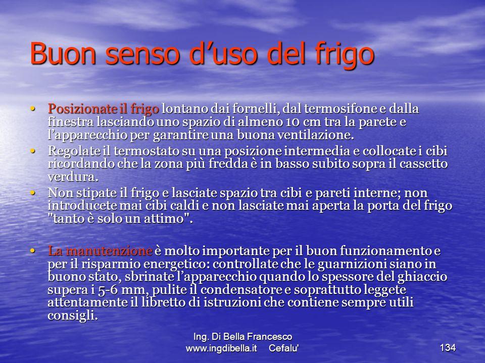 Ing. Di Bella Francesco www.ingdibella.it Cefalu'134 Buon senso duso del frigo Posizionate il frigo lontano dai fornelli, dal termosifone e dalla fine