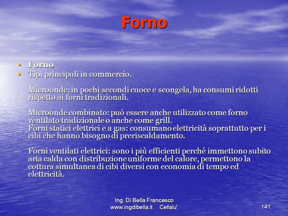 Ing. Di Bella Francesco www.ingdibella.it Cefalu'141 Forno Forno Forno Tipi principali in commercio. Microonde: in pochi secondi cuoce e scongela, ha