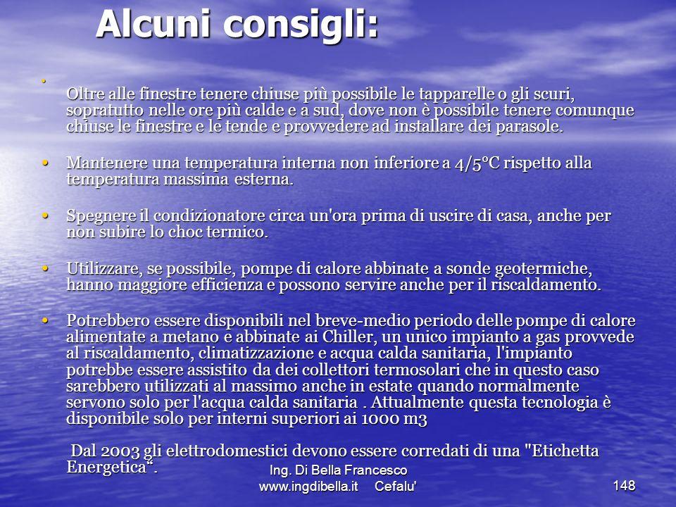 Ing. Di Bella Francesco www.ingdibella.it Cefalu'148 Alcuni consigli: Alcuni consigli: Oltre alle finestre tenere chiuse più possibile le tapparelle o