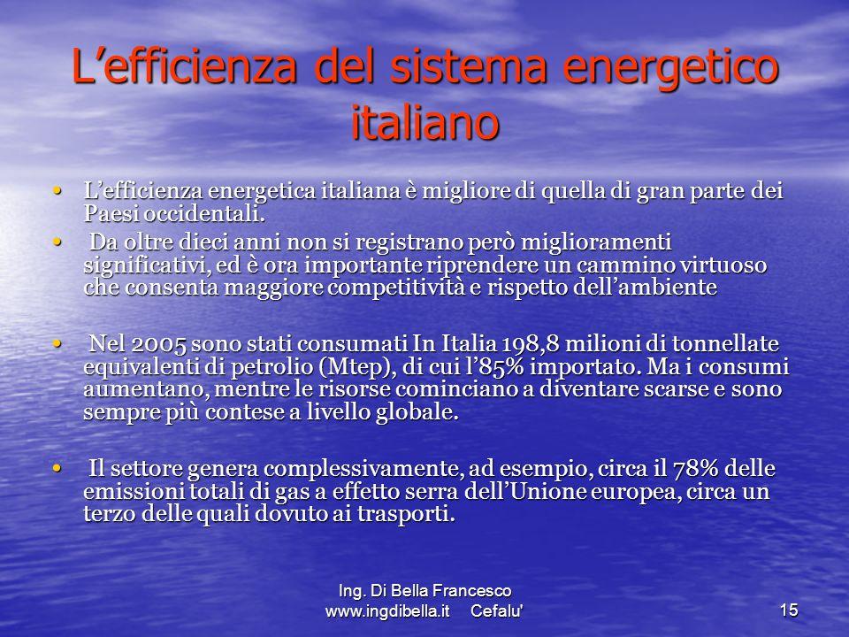 Ing. Di Bella Francesco www.ingdibella.it Cefalu'15 Lefficienza del sistema energetico italiano Lefficienza energetica italiana è migliore di quella d