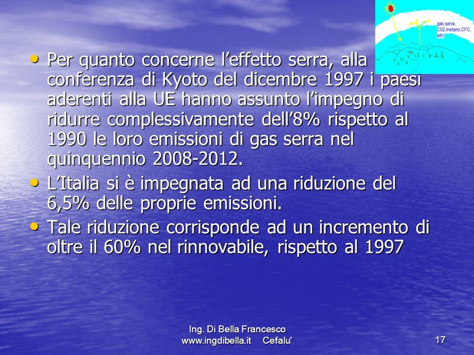 Ing. Di Bella Francesco www.ingdibella.it Cefalu'17 Per quanto concerne leffetto serra, alla conferenza di Kyoto del dicembre 1997 i paesi aderenti al
