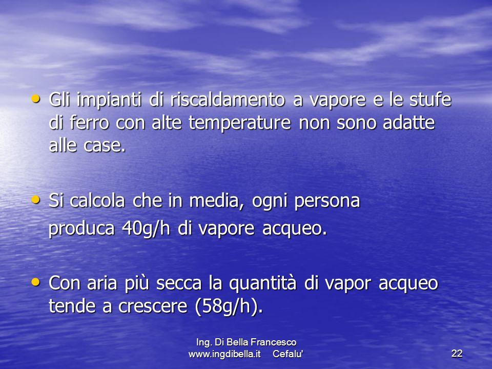 Ing. Di Bella Francesco www.ingdibella.it Cefalu'22 Gli impianti di riscaldamento a vapore e le stufe di ferro con alte temperature non sono adatte al
