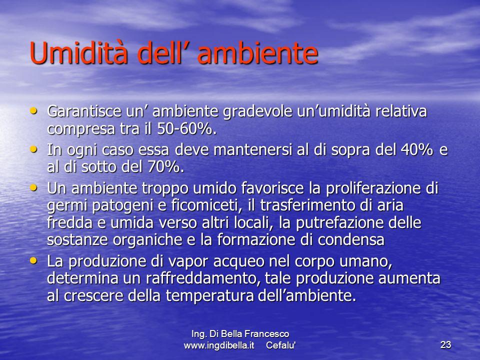 Ing. Di Bella Francesco www.ingdibella.it Cefalu'23 Umidità dell ambiente Garantisce un ambiente gradevole unumidità relativa compresa tra il 50-60%.