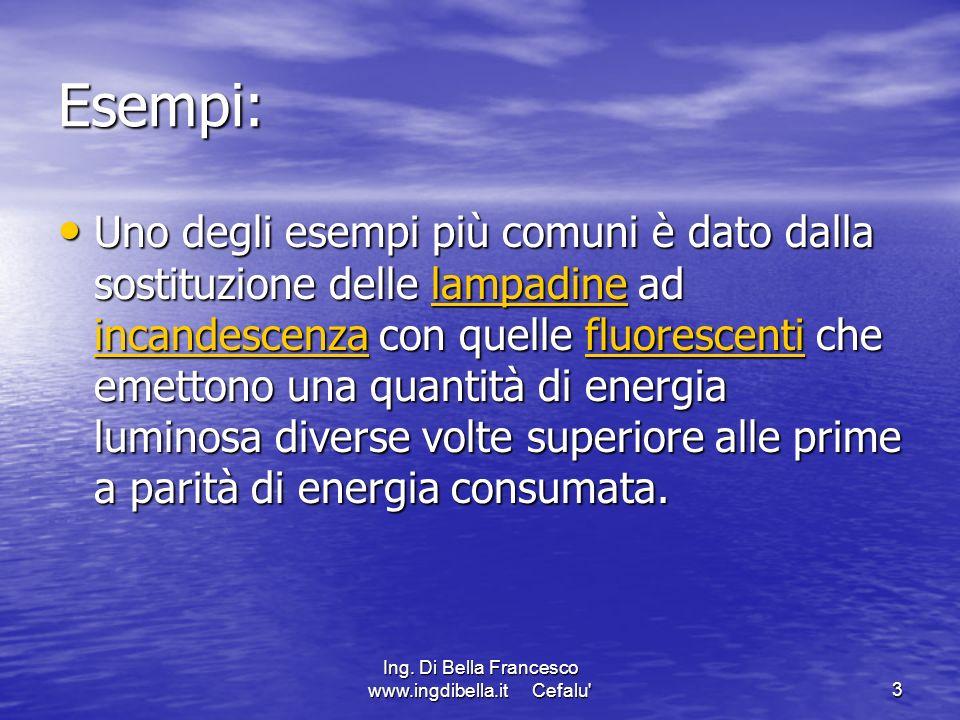 Ing. Di Bella Francesco www.ingdibella.it Cefalu'3 Esempi: Uno degli esempi più comuni è dato dalla sostituzione delle lampadine ad incandescenza con