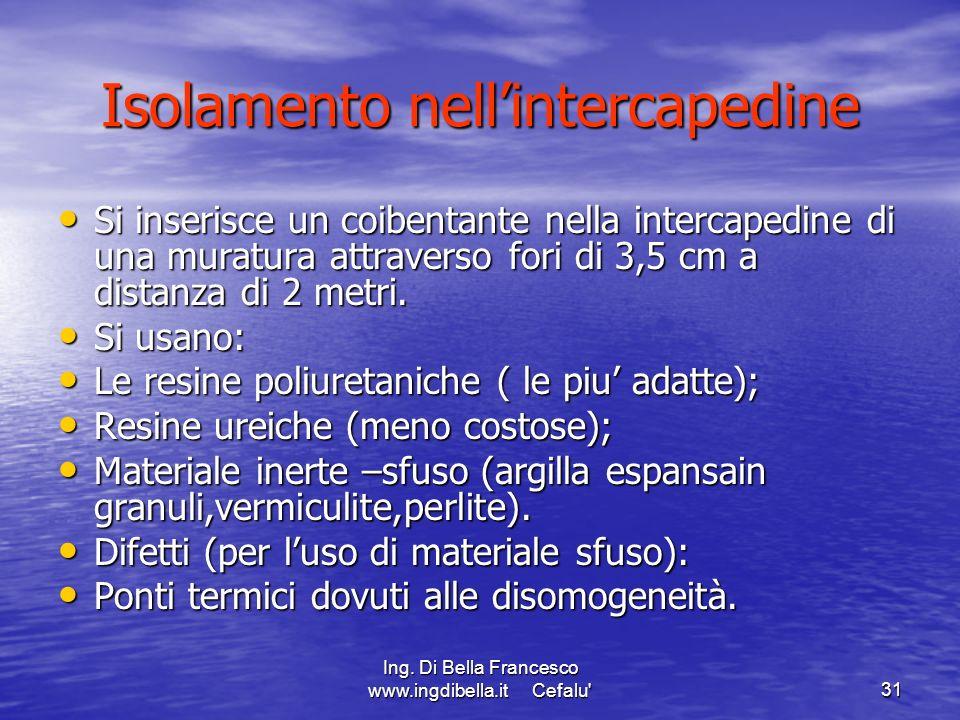 Ing. Di Bella Francesco www.ingdibella.it Cefalu'31 Isolamento nellintercapedine Si inserisce un coibentante nella intercapedine di una muratura attra