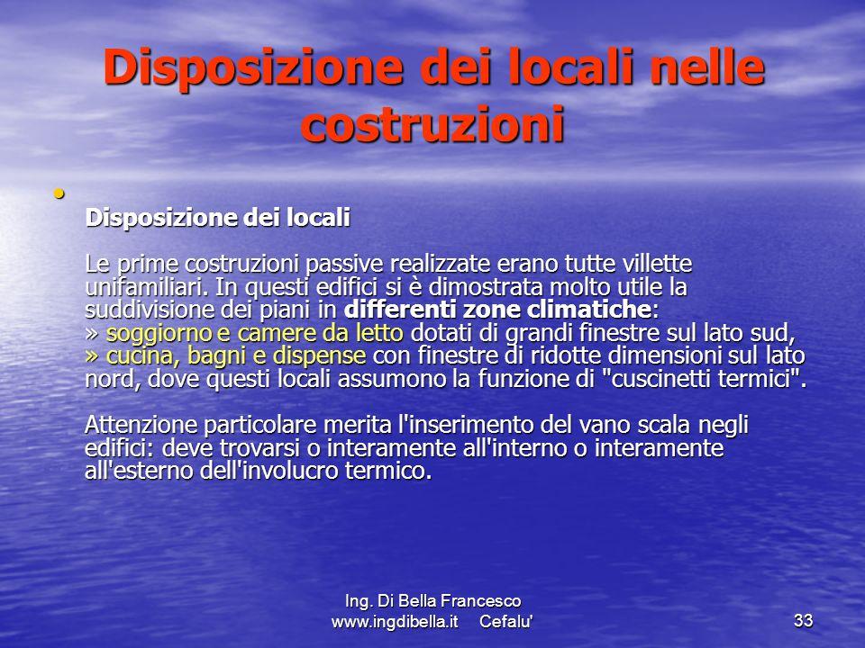 Ing. Di Bella Francesco www.ingdibella.it Cefalu'33 Disposizione dei locali nelle costruzioni Disposizione dei locali Le prime costruzioni passive rea