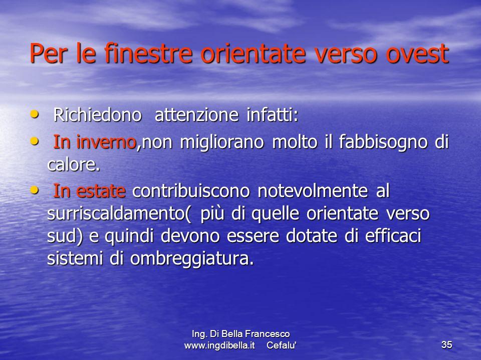 Ing. Di Bella Francesco www.ingdibella.it Cefalu'35 Per le finestre orientate verso ovest Richiedono attenzione infatti: Richiedono attenzione infatti