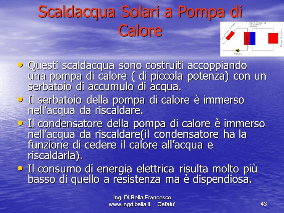 Ing. Di Bella Francesco www.ingdibella.it Cefalu'43 Scaldacqua Solari a Pompa di Calore Questi scaldacqua sono costruiti accoppiando una pompa di calo