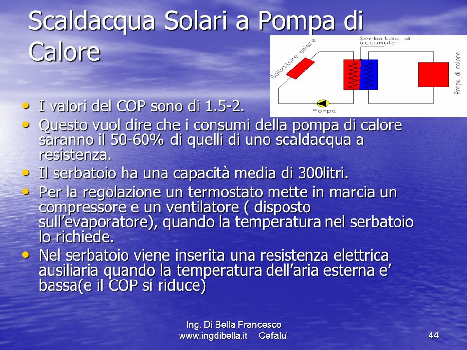 Ing. Di Bella Francesco www.ingdibella.it Cefalu'44 Scaldacqua Solari a Pompa di Calore I valori del COP sono di 1.5-2. I valori del COP sono di 1.5-2