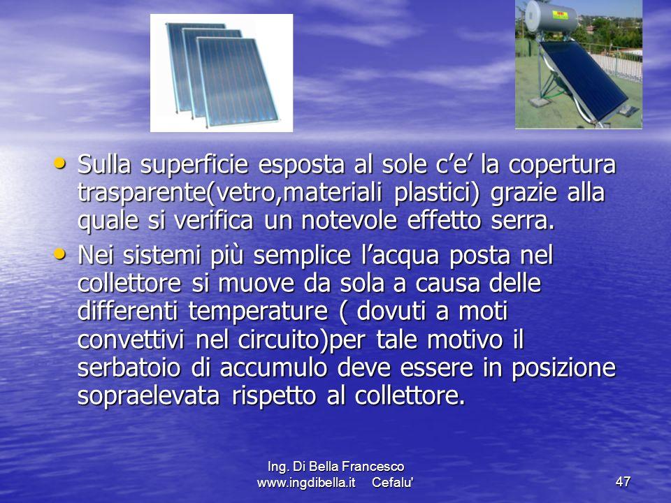 Ing. Di Bella Francesco www.ingdibella.it Cefalu'47 Sulla superficie esposta al sole ce la copertura trasparente(vetro,materiali plastici) grazie alla