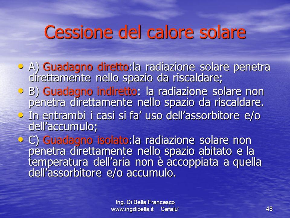 Ing. Di Bella Francesco www.ingdibella.it Cefalu'48 Cessione del calore solare A) Guadagno diretto:la radiazione solare penetra direttamente nello spa