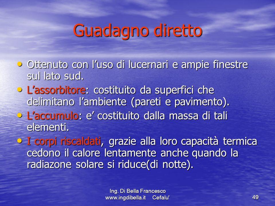 Ing. Di Bella Francesco www.ingdibella.it Cefalu'49 Guadagno diretto Ottenuto con luso di lucernari e ampie finestre sul lato sud. Ottenuto con luso d