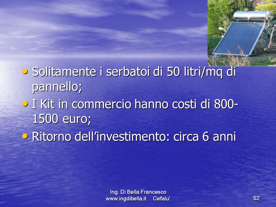 Ing. Di Bella Francesco www.ingdibella.it Cefalu'52 Solitamente i serbatoi di 50 litri/mq di pannello; Solitamente i serbatoi di 50 litri/mq di pannel