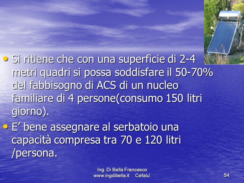 Ing. Di Bella Francesco www.ingdibella.it Cefalu'54 Si ritiene che con una superficie di 2-4 metri quadri si possa soddisfare il 50-70% del fabbisogno