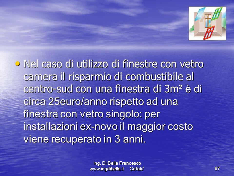 Ing. Di Bella Francesco www.ingdibella.it Cefalu'67 Nel caso di utilizzo di finestre con vetro camera il risparmio di combustibile al centro-sud con u