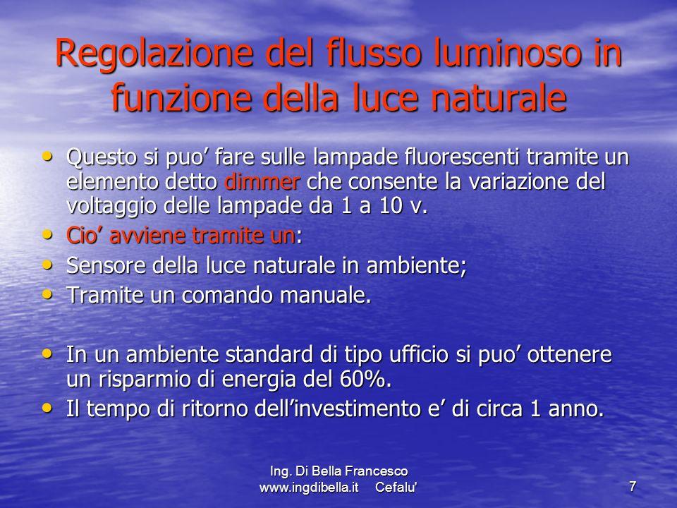 Ing. Di Bella Francesco www.ingdibella.it Cefalu'7 Regolazione del flusso luminoso in funzione della luce naturale Questo si puo fare sulle lampade fl