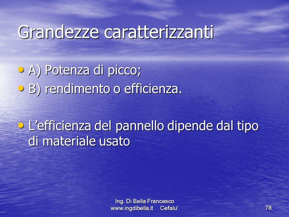 Ing. Di Bella Francesco www.ingdibella.it Cefalu'78 Grandezze caratterizzanti A) Potenza di picco; A) Potenza di picco; B) rendimento o efficienza. B)