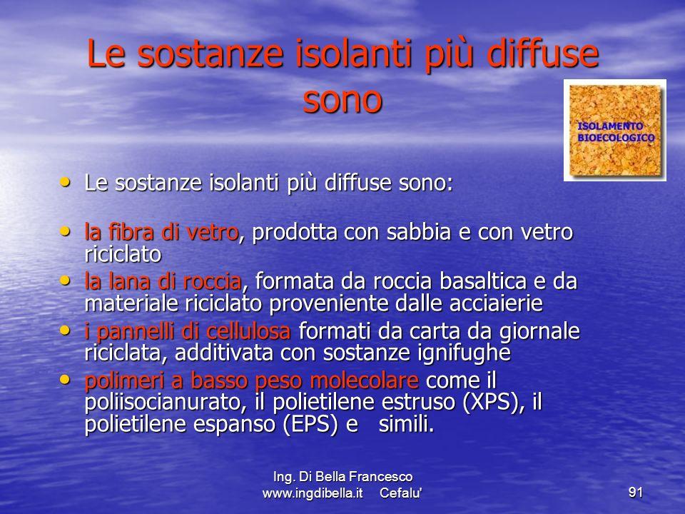 Ing. Di Bella Francesco www.ingdibella.it Cefalu'91 Le sostanze isolanti più diffuse sono Le sostanze isolanti più diffuse sono: Le sostanze isolanti
