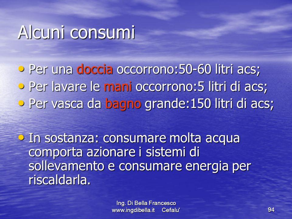 Ing. Di Bella Francesco www.ingdibella.it Cefalu'94 Alcuni consumi Per una doccia occorrono:50-60 litri acs; Per una doccia occorrono:50-60 litri acs;