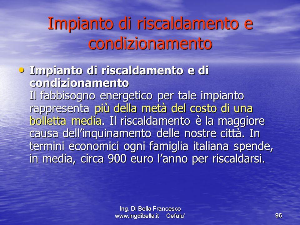Ing. Di Bella Francesco www.ingdibella.it Cefalu'96 Impianto di riscaldamento e condizionamento Impianto di riscaldamento e di condizionamento Il fabb
