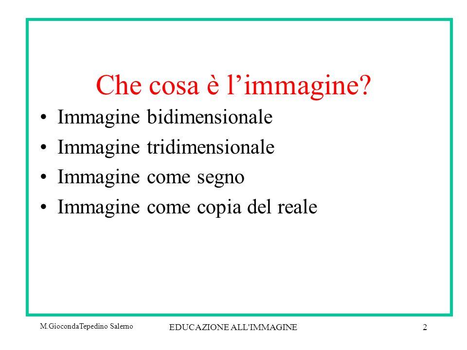 M.GiocondaTepedino Salerno EDUCAZIONE ALL IMMAGINE2 Che cosa è limmagine.