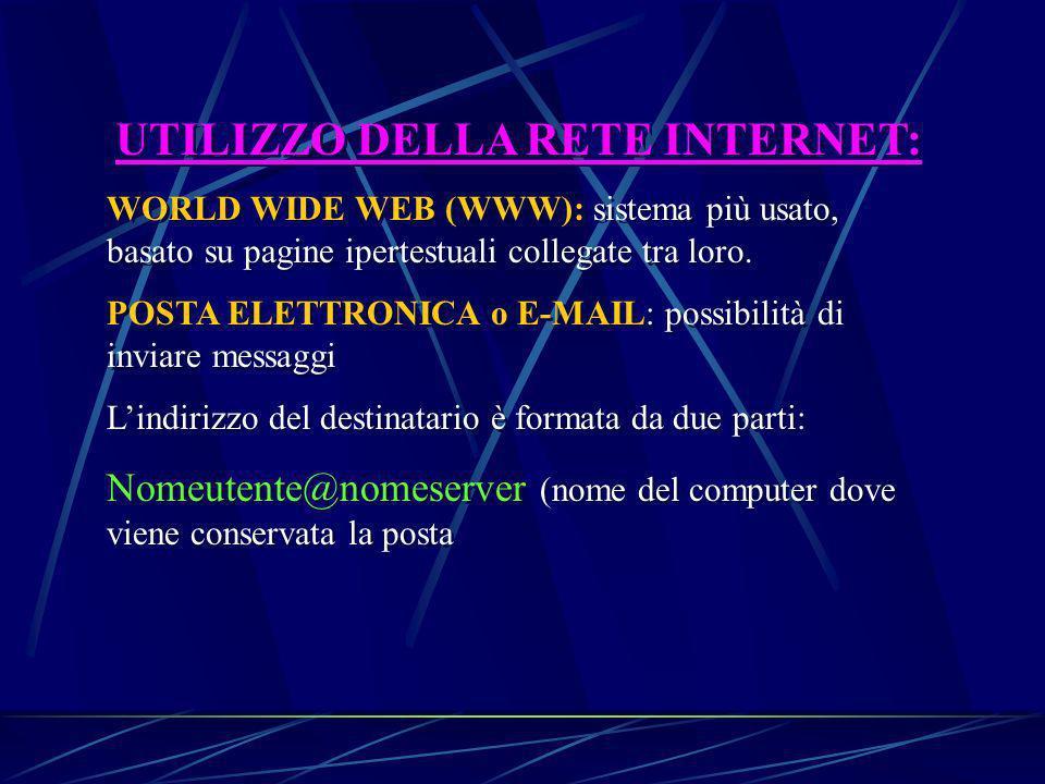 UTILIZZO DELLA RETE INTERNET: WORLD WIDE WEB (WWW): sistema più usato, basato su pagine ipertestuali collegate tra loro.