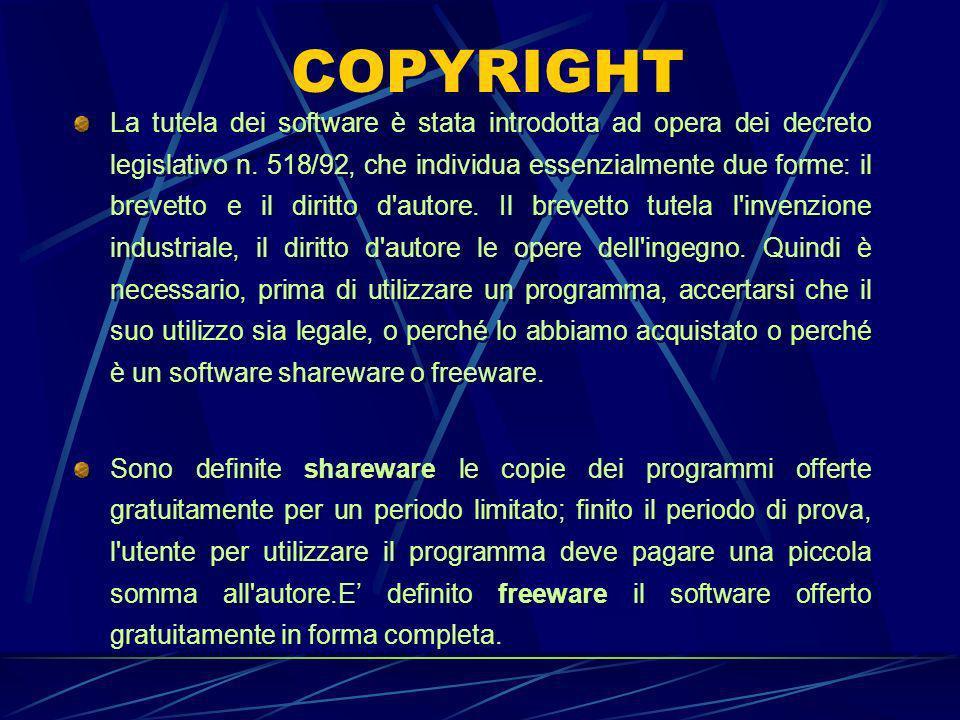 COPYRIGHT La tutela dei software è stata introdotta ad opera dei decreto legislativo n.