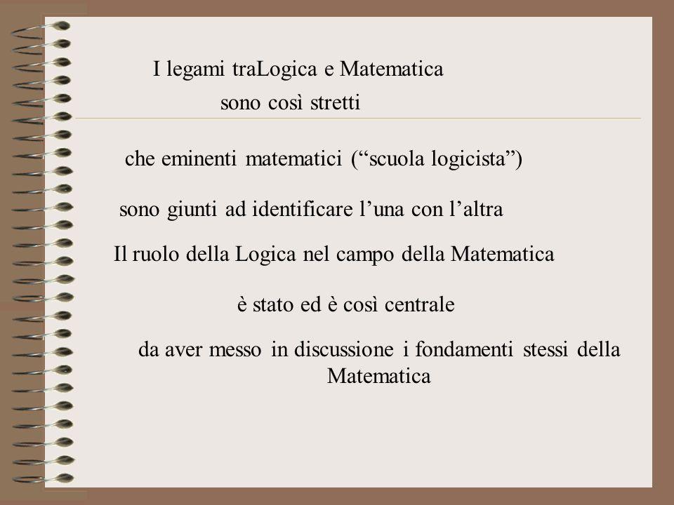 I legami traLogica e Matematica sono così stretti sono giunti ad identificare luna con laltra che eminenti matematici (scuola logicista) Il ruolo dell