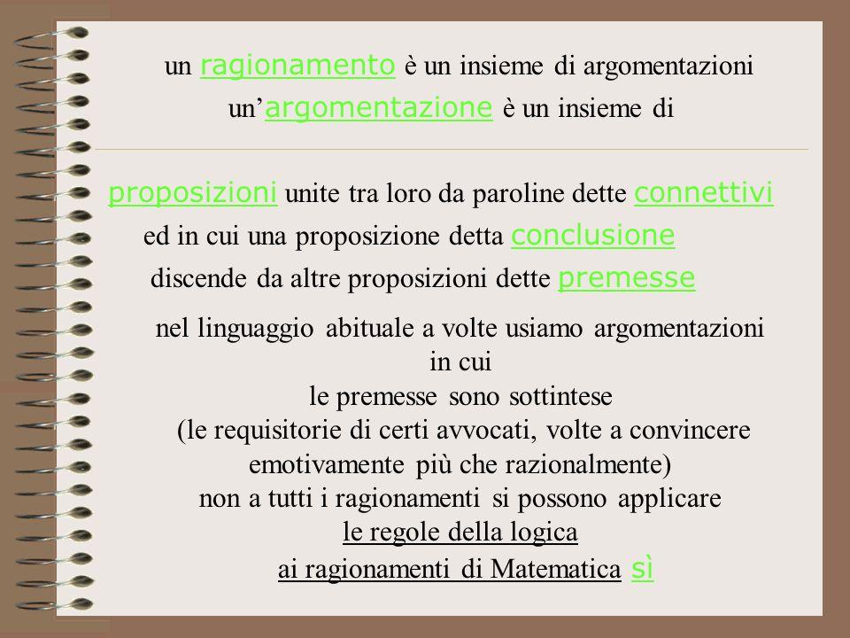 un ragionamento è un insieme di argomentazioni un argomentazione è un insieme di proposizioni unite tra loro da paroline dette connettivi ed in cui un