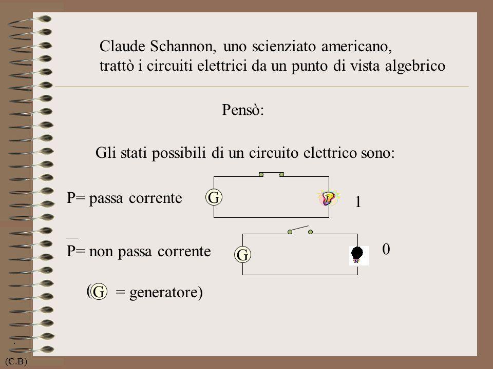 . Claude Schannon, uno scienziato americano, trattò i circuiti elettrici da un punto di vista algebrico Gli stati possibili di un circuito elettrico s