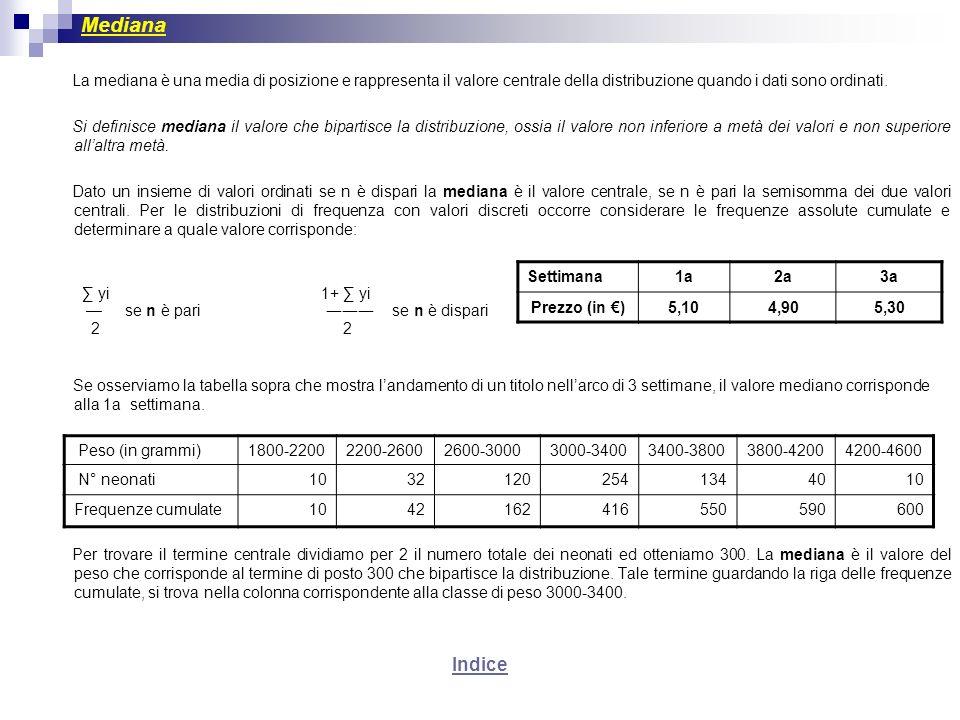 Mediana La mediana è una media di posizione e rappresenta il valore centrale della distribuzione quando i dati sono ordinati. Si definisce mediana il