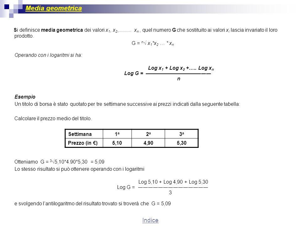 Media geometrica Si definisce media geometrica dei valori x 1, x 2,.......... x n, quel numero G che sostituito ai valori x i lascia invariato il loro