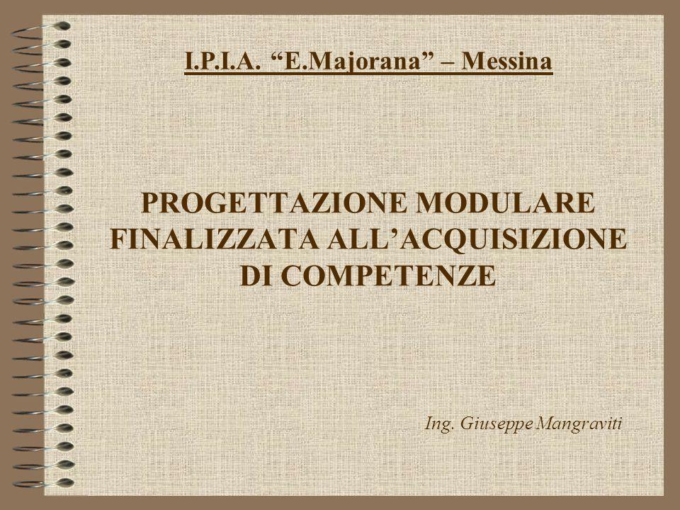PROGETTAZIONE MODULARE FINALIZZATA ALLACQUISIZIONE DI COMPETENZE I.P.I.A.