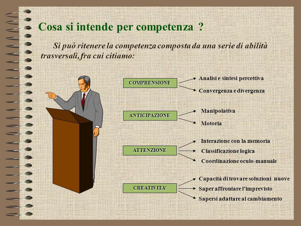 Cosa si intende per competenza ? Una prima differenziazione va fatta fra: COMPETENZA PERFORMANCE e ACQUISIZIONE DI REGOLE MENTALI E LOGICHE (IN ORDINE