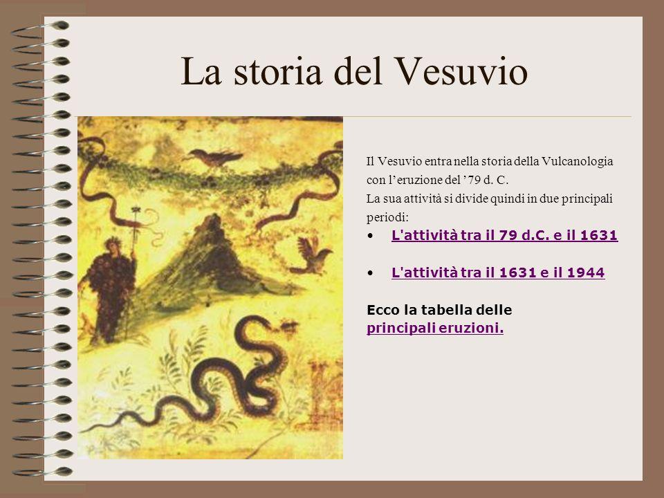 La storia del Vesuvio Il Vesuvio entra nella storia della Vulcanologia con leruzione del 79 d. C. La sua attività si divide quindi in due principali p