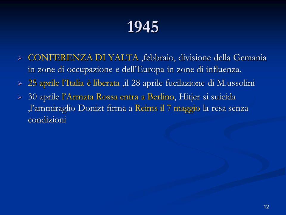 12 1945 CONFERENZA DI YALTA,febbraio, divisione della Gemania in zone di occupazione e dellEuropa in zone di influenza. CONFERENZA DI YALTA,febbraio,