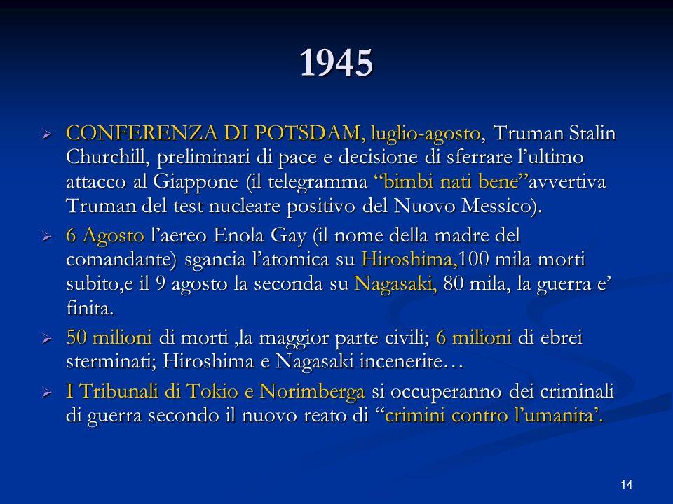 14 1945 CONFERENZA DI POTSDAM, luglio-agosto, Truman Stalin Churchill, preliminari di pace e decisione di sferrare lultimo attacco al Giappone (il tel