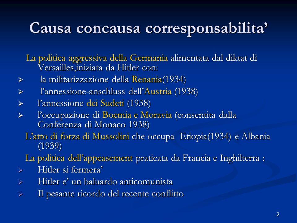 2 Causa concausa corresponsabilita La politica aggressiva della Germania alimentata dal diktat di Versailles,iniziata da Hitler con: La politica aggre