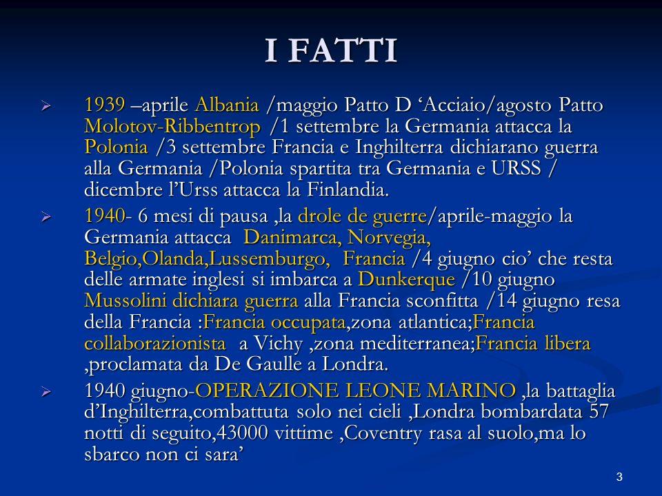 3 I FATTI 1939 –aprile Albania /maggio Patto D Acciaio/agosto Patto Molotov-Ribbentrop /1 settembre la Germania attacca la Polonia /3 settembre Franci