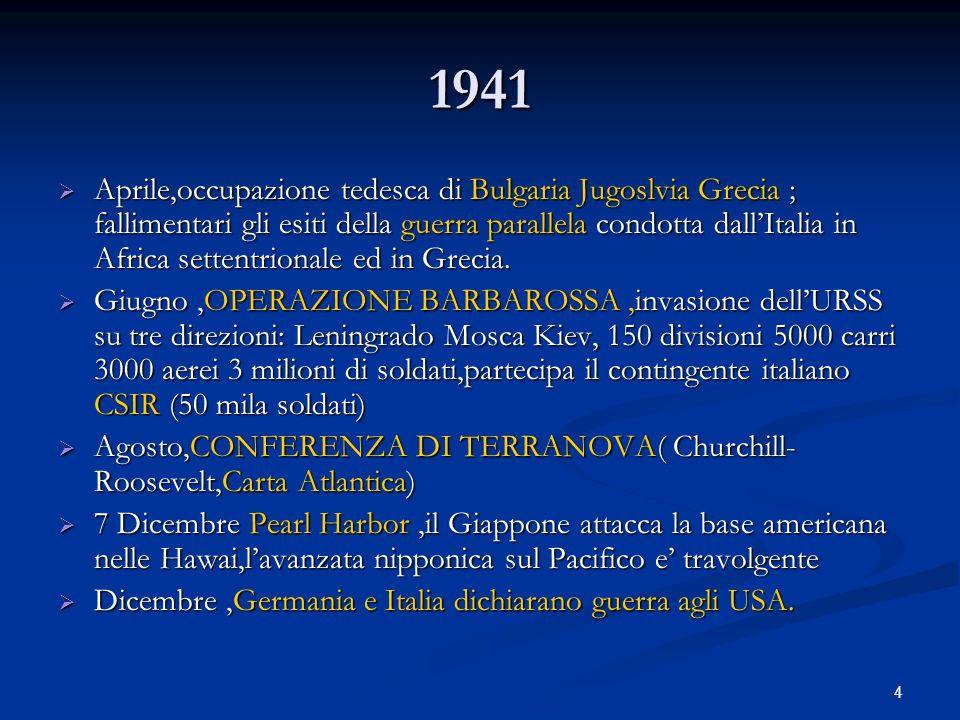 4 1941 Aprile,occupazione tedesca di Bulgaria Jugoslvia Grecia ; fallimentari gli esiti della guerra parallela condotta dallItalia in Africa settentri