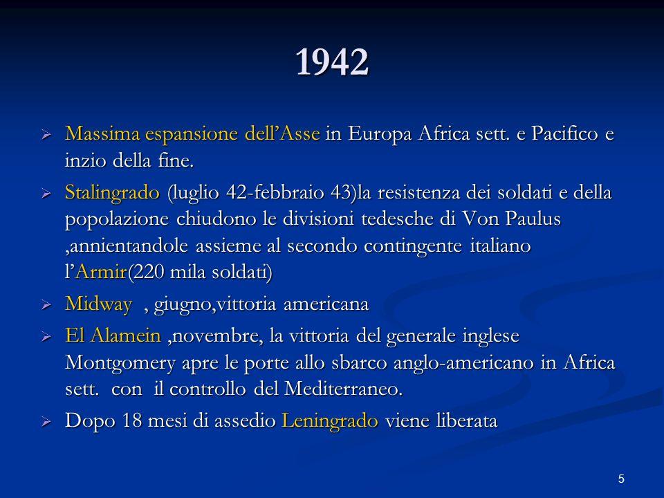 5 1942 Massima espansione dellAsse in Europa Africa sett. e Pacifico e inzio della fine. Massima espansione dellAsse in Europa Africa sett. e Pacifico