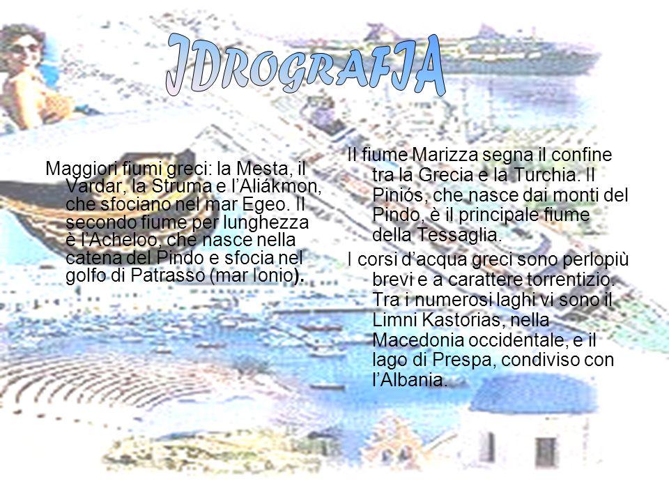 Maggiori fiumi greci: la Mesta, il Vardar, la Struma e lAliákmon, che sfociano nel mar Egeo. Il secondo fiume per lunghezza è lAcheloo, che nasce nell