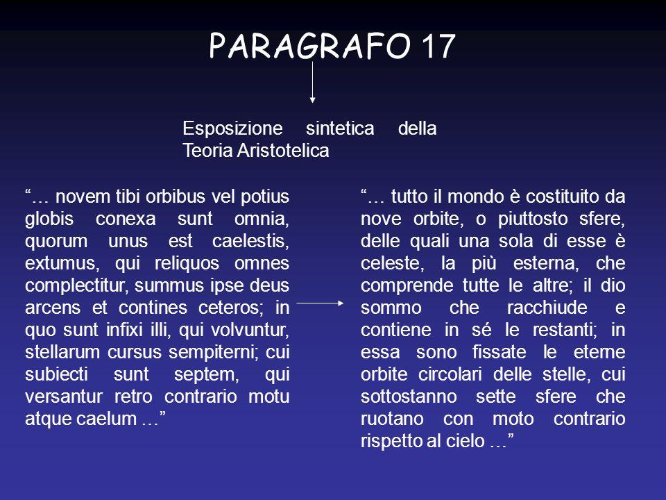 PARAGRAFO 18 Esposizione sintetica della Teoria dellarmonia celeste (origine Pitagorica) …Quid.