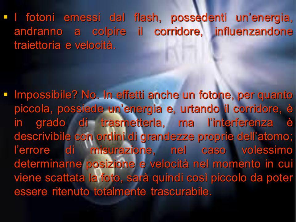 I fotoni emessi dal flash, possedenti unenergia, andranno a colpire il corridore, influenzandone traiettoria e velocità. I fotoni emessi dal flash, po