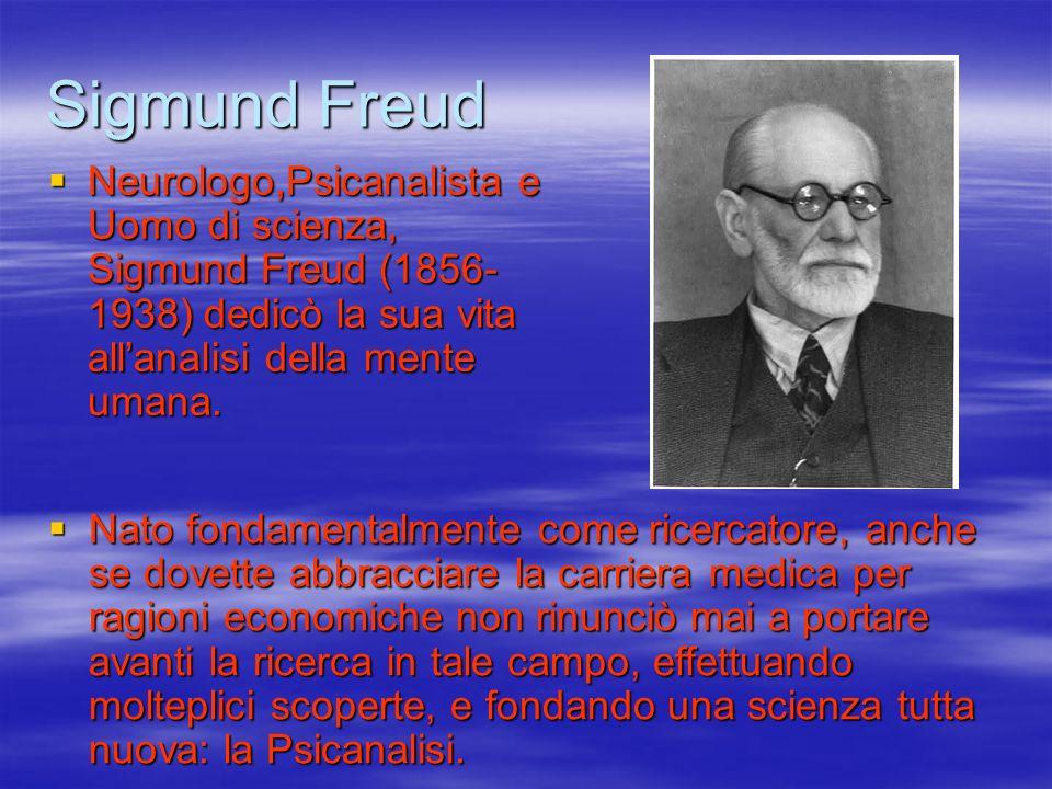 Sigmund Freud Neurologo,Psicanalista e Uomo di scienza, Sigmund Freud (1856- 1938) dedicò la sua vita allanalisi della mente umana. Neurologo,Psicanal