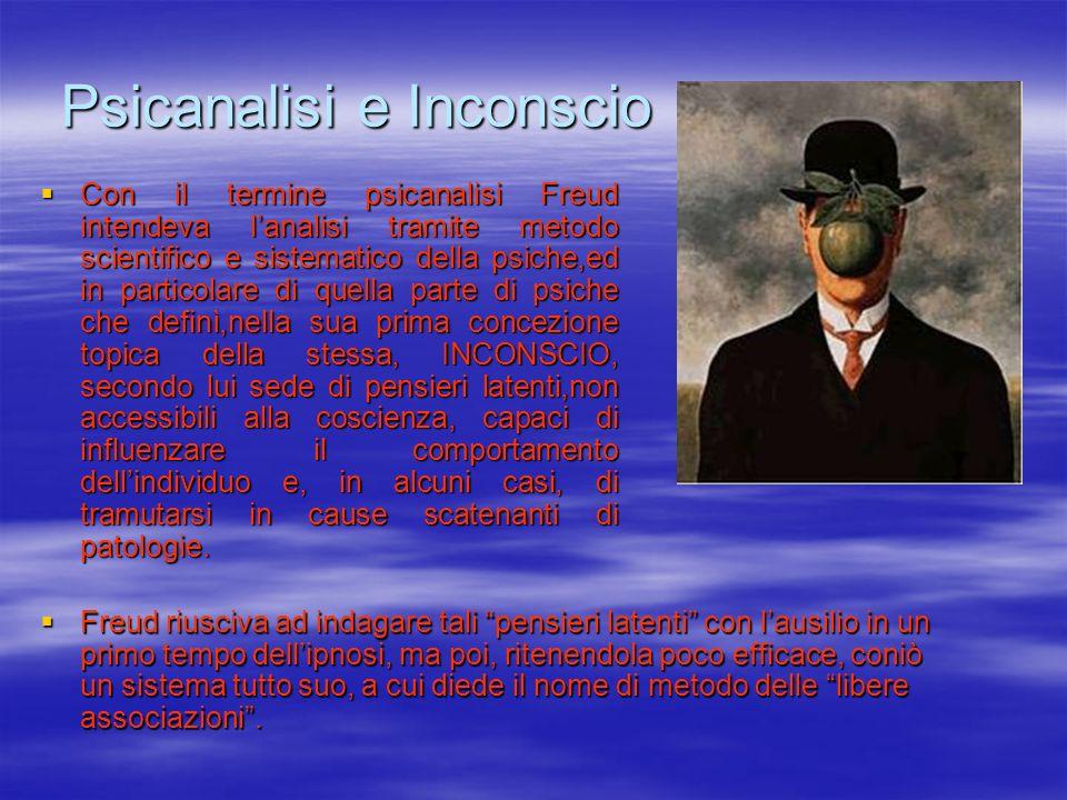 Psicanalisi e Inconscio Con il termine psicanalisi Freud intendeva lanalisi tramite metodo scientifico e sistematico della psiche,ed in particolare di