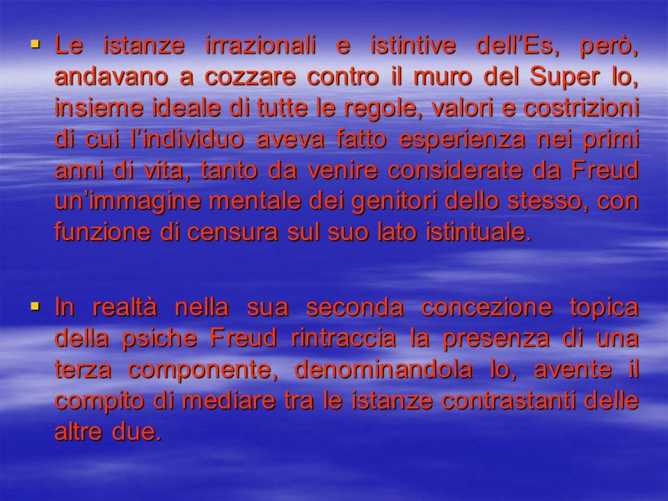 Le istanze irrazionali e istintive dellEs, però, andavano a cozzare contro il muro del Super Io, insieme ideale di tutte le regole, valori e costrizio