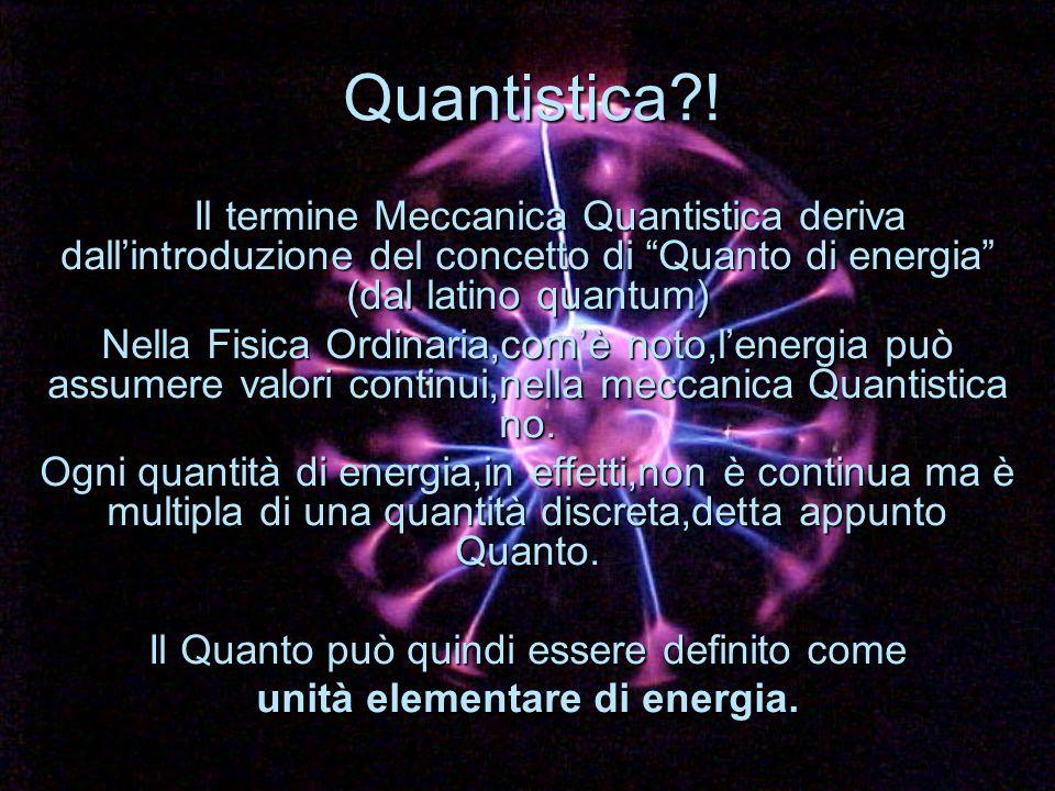 Il termine Meccanica Quantistica deriva dallintroduzione del concetto di Quanto di energia (dal latino quantum) Il termine Meccanica Quantistica deriv